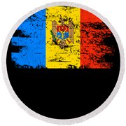 Moldova Gift Country Flag Patriotic Travel Shirt Europe Light Round Beach Towel