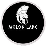 Molon Labe Spartan Warrior Helmet Round Beach Towel