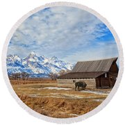Molten Barn And Tetons 4 Round Beach Towel