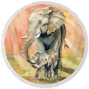 Mom And Baby Elephant Round Beach Towel