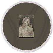 Mom And Sister Portrait Round Beach Towel