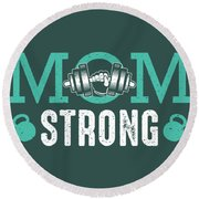 Mom Strong Round Beach Towel