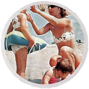 Mom With Girls At Beach Round Beach Towel