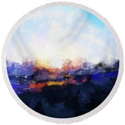 Moment In Blue Spaces Round Beach Towel
