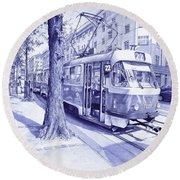 Moment In Prague - Ballpoint Pen Art Round Beach Towel
