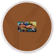 Moment Of Pleasure Round Beach Towel