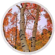 Moments Of Fall Round Beach Towel