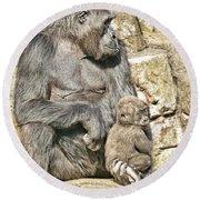 Momma And Baby Gorilla Round Beach Towel