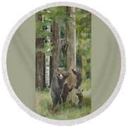 Momma With 4 Bear Cubs Round Beach Towel
