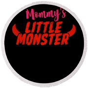 Mommys Little Monster Clothing For Everyone Halloween Scary Love Mom Gift Or Present Sibling Clothi Round Beach Towel