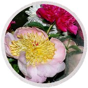 Mom's Peonies Round Beach Towel
