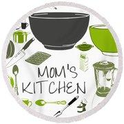 Moms Retro Kitchen Cookware Round Beach Towel