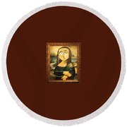 Mona In A Guilded Frame Round Beach Towel