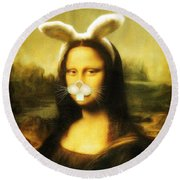 Mona Lisa Bunny Round Beach Towel