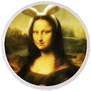 Mona Lisa Easter Bunny Round Beach Towel