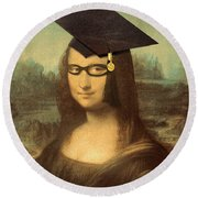 Mona Lisa  Graduation Day Round Beach Towel