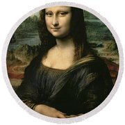 Mona Lisa Round Beach Towel by Leonardo da Vinci