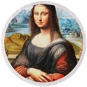 Mona Lisa Painting Round Beach Towel