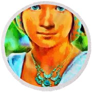 Mona Lisa Young - Pa Round Beach Towel