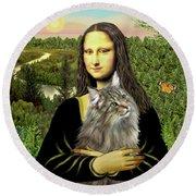 Mona Lisas Norwegian Forest Cat Round Beach Towel