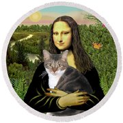 Mona Lisa's Tri Color Cat Round Beach Towel