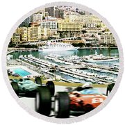 Monaco Grand Prix Racing Poster - Original Art Work Round Beach Towel