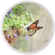 Monarch And Garden Basket Round Beach Towel