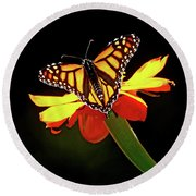 Monarch And Tithonia Light And Shadow Round Beach Towel
