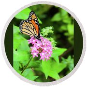 Monarch Butterfly And Honey Bee Round Beach Towel