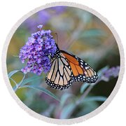 Monarch Butterfly And Purple Flowers Round Beach Towel