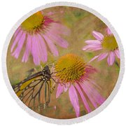 Monarch Butterfly In Pink Round Beach Towel