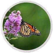 Monarch Butterfly On Butterfly Bush 2011 Round Beach Towel