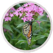Monarch Butterfly On Pink Flowers  Round Beach Towel
