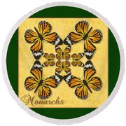 Monarch Butterfly Pin Wheel Round Beach Towel