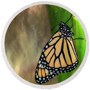 Monarch Butterfly Poised On Green Stem Round Beach Towel
