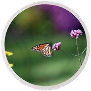Monarch In Fall Garden 2011 Round Beach Towel