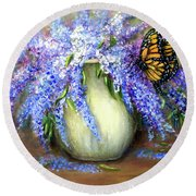 Monarch Of The Lilacs Round Beach Towel