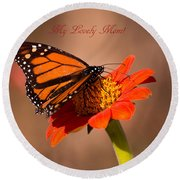Monarch On Tithonia Mother's Day Gifts Round Beach Towel