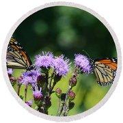 Monarchs And Blazing Star Round Beach Towel