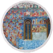 Monastery Angels Round Beach Towel