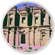 Monastery At Petra Round Beach Towel by Dominic Piperata