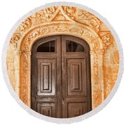 Monastery Of Jeronimos Door Round Beach Towel