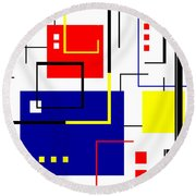 Mondrian Redux Round Beach Towel by Tara Hutton
