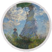 Monet , Woman With A Parasol  Round Beach Towel