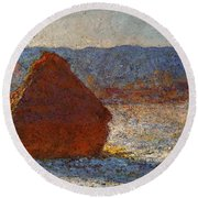 Monet Claude Haystack Snow Effect  Cat Round Beach Towel