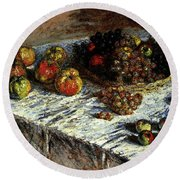 Monet Claude Still Life Apples And Grapes Round Beach Towel
