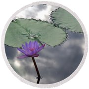 Monet Lily Pond Reflection  Round Beach Towel