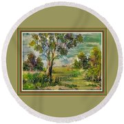 Monetcalia Catus 1 No. 3 Landscape Scene Near Fontainebleau L B With Alt. Decorative Printed Frame. Round Beach Towel
