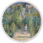 Monet's Garden At Vetheuil Round Beach Towel