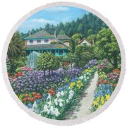 Monet's Garden Giverny Round Beach Towel